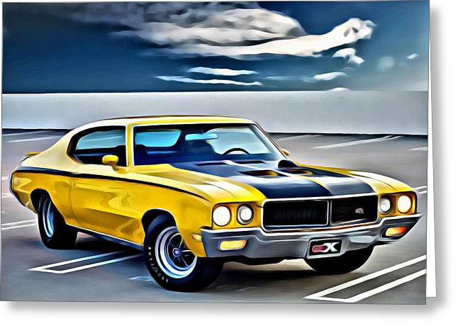 Blue Buick Greeting Cards - Buick GSX 1970 Greeting Card by Florian Rodarte