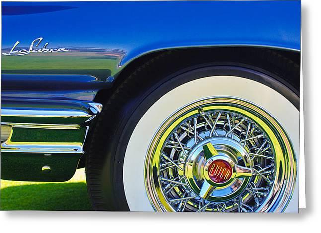 Wheels Greeting Cards - Buick LeSabre Wheel Emblem Greeting Card by Jill Reger