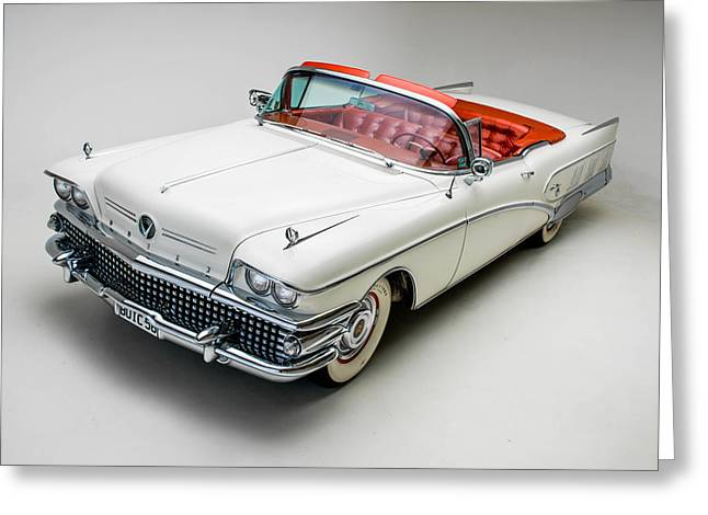 Old American Greeting Cards - Buick Limited Convertible 1958 Greeting Card by Gianfranco Weiss