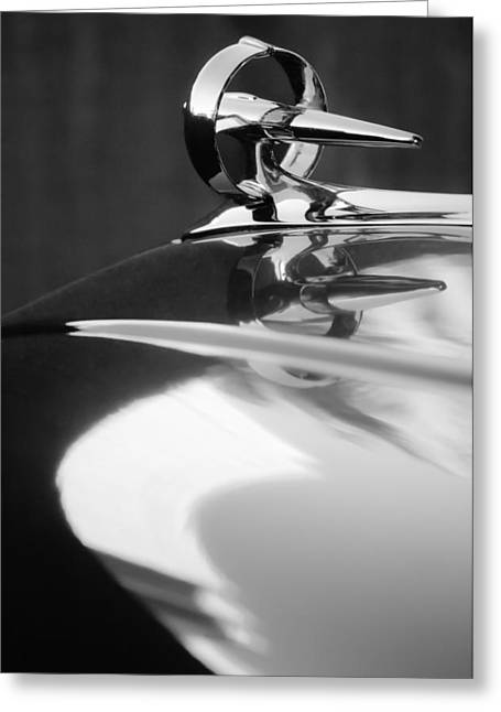 Buick Greeting Cards - Buick Roadmaster Hood Ornament -0625bw Greeting Card by Jill Reger