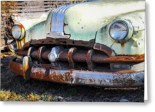 Rusted Cars Digital Art Greeting Cards - Buick Silver Streak 8 Grille Greeting Card by Bill Cannon