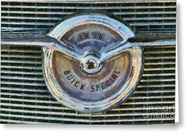 Car Mascot Paintings Greeting Cards - 1956 Buick Special Greeting Card by George Atsametakis