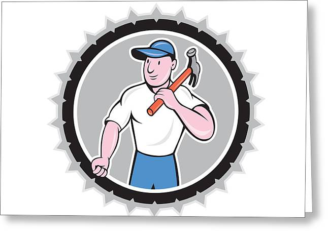 Rosette Greeting Cards - Builder Carpenter Holding Hammer Rosette Cartoon Greeting Card by Aloysius Patrimonio