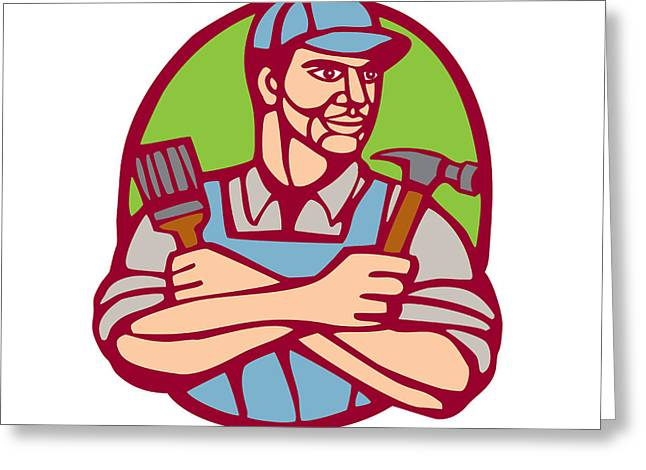 Linocut Greeting Cards - Builder Carpenter Paintbrush Hammer Linocut Greeting Card by Aloysius Patrimonio