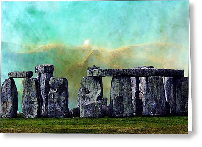 Space Photographs Greeting Cards - Building A Mystery 2 - Stonehenge Art By Sharon Cummings Greeting Card by Sharon Cummings