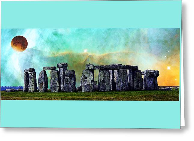 Astronomy Paintings Greeting Cards - Building A Mystery 2 - Stonehenge Art By Sharon Cummings Greeting Card by Sharon Cummings