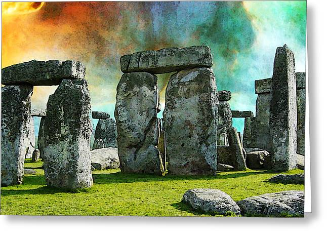Amesbury Greeting Cards - Building A Mystery - Stonehenge Art By Sharon Cummings Greeting Card by Sharon Cummings