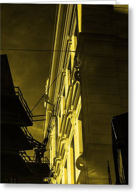 Streetlight Greeting Cards - Building and crane  Greeting Card by Toppart Sweden