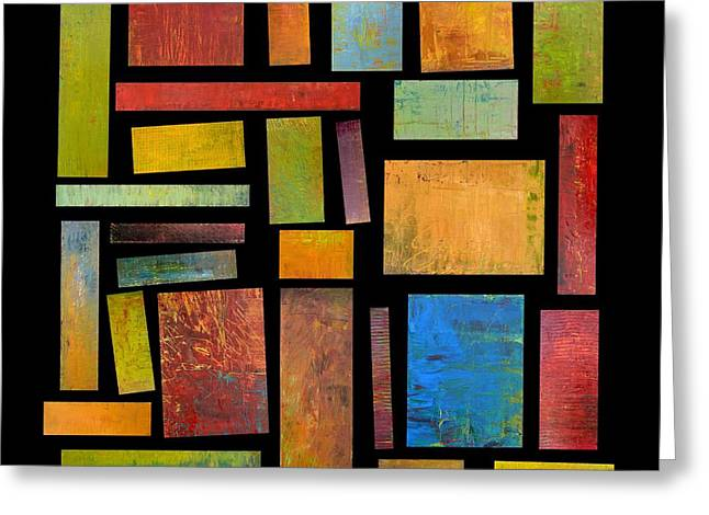Geometric Design Greeting Cards - Building Blocks Three Greeting Card by Michelle Calkins