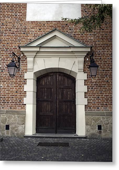 Wooden Building Greeting Cards - Building front door. Greeting Card by Fernando Barozza