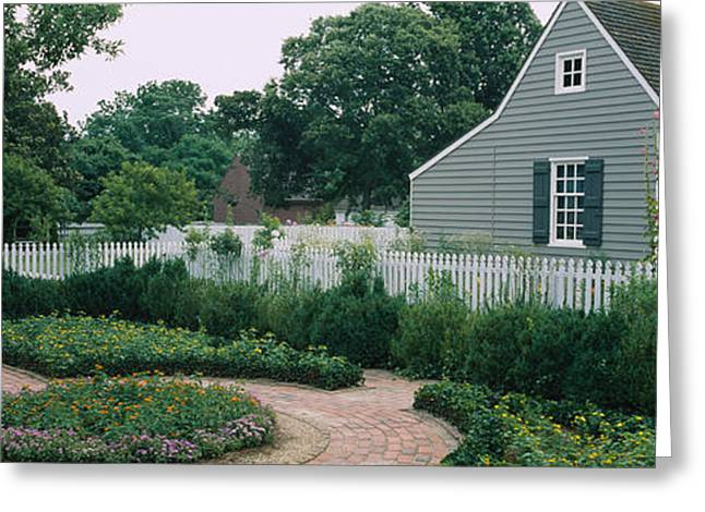 Williamsburg Greeting Cards - Building In A Garden, Williamsburg Greeting Card by Panoramic Images