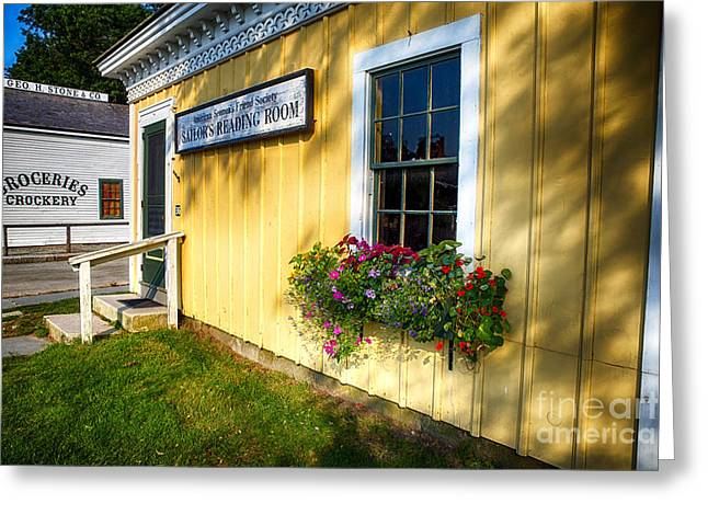 New England Village Greeting Cards - Building in a Historic Seafaring Village Greeting Card by George Oze