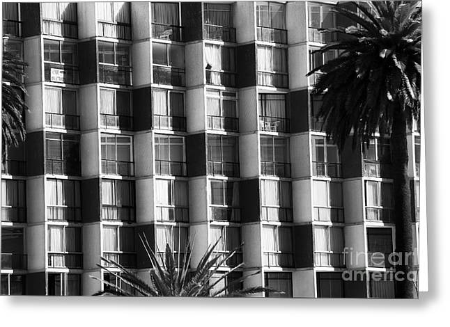 Vineyard Poster Greeting Cards - Building Lines in Vina del Mar Greeting Card by John Rizzuto