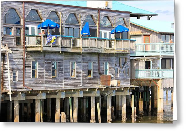 Cedar Key Greeting Cards - Building on Piles Above Water Greeting Card by Lorna Maza