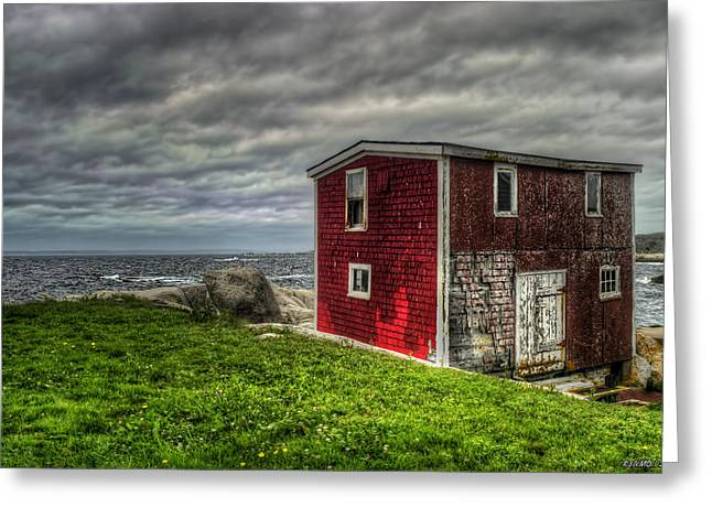 Shed Digital Art Greeting Cards - Building on the Seas Edge Greeting Card by Ken Morris