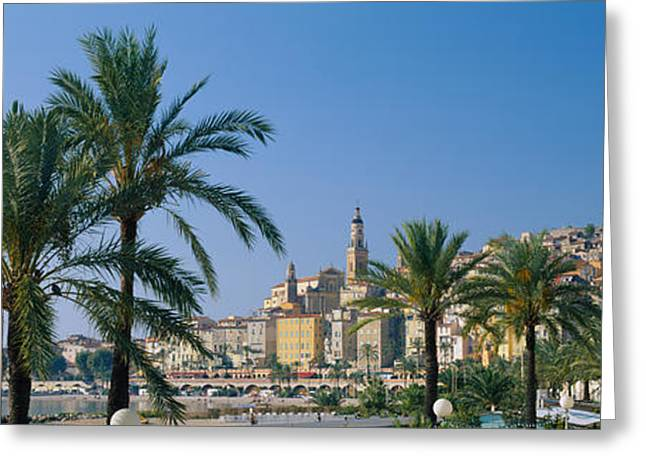 Building On The Waterfront, Menton Greeting Card by Panoramic Images