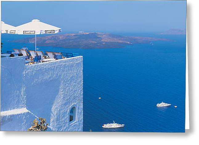 Visitors Greeting Cards - Building On Water, Boats, Fira Greeting Card by Panoramic Images