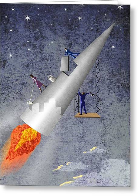 Dream Team Art Greeting Cards - Building Rocket Greeting Card by Steve Dininno