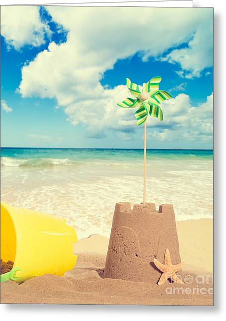 Golden Sand Greeting Cards - Building Sandcastles Greeting Card by Amanda And Christopher Elwell
