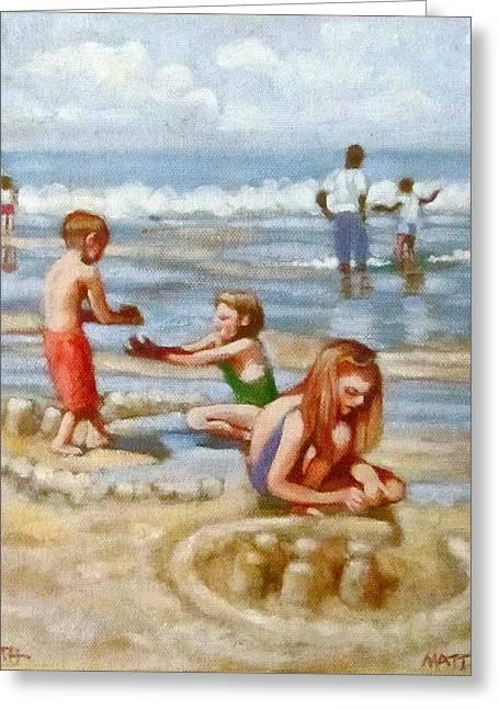 Janet Mcgrath Greeting Cards - Building Sandcastles Greeting Card by Janet McGrath