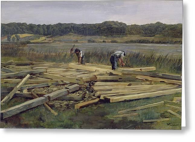 Carpenter Lake Greeting Cards - Building Site At Wesslingersee, 1876 Oil On Canvas Greeting Card by Heinrich Wilhelm Truebner