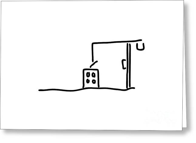 Shell Of A House Greeting Cards - Building Site With Crane Building A House Greeting Card by Lineamentum