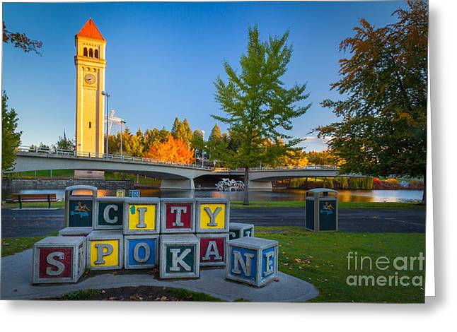 Spokane Greeting Cards - Building the City Greeting Card by Inge Johnsson