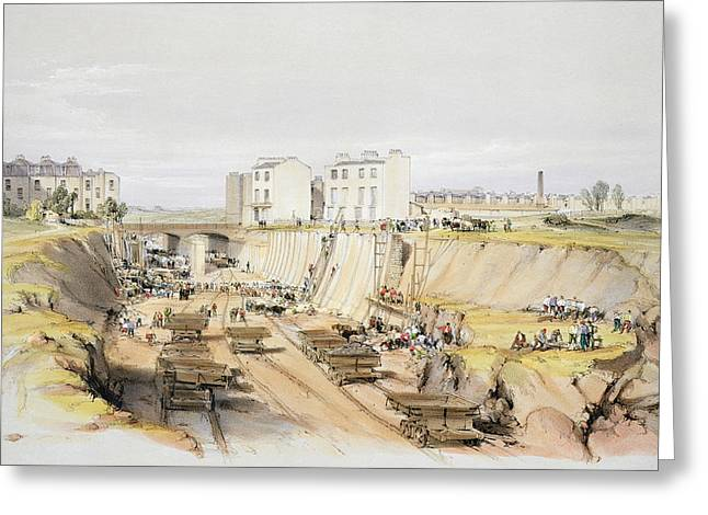 Sewer Greeting Cards - Building The Retaining Wall Near Park Greeting Card by John Cooke Bourne