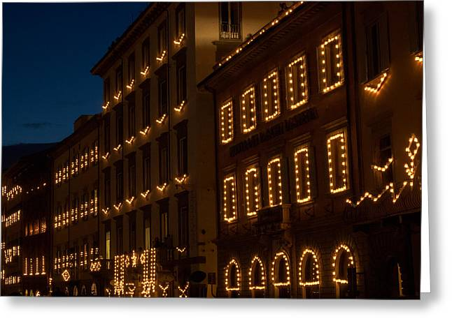 Italian Culture Greeting Cards - Building Windows Outlined In Lights Greeting Card by Panoramic Images