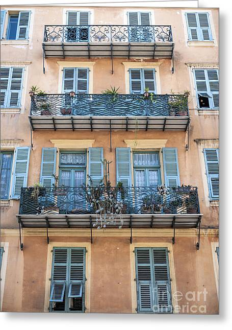 Facades Greeting Cards - Building with balconies Greeting Card by Elena Elisseeva