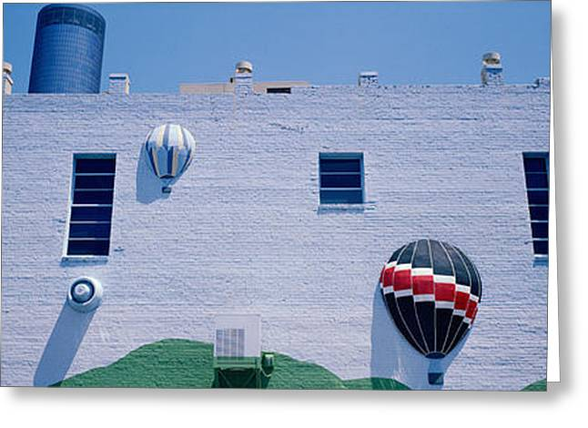 Adorning Greeting Cards - Building With Balloon Decorations Greeting Card by Panoramic Images