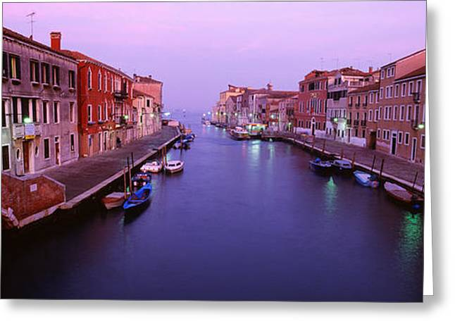 Italian Sunset Greeting Cards - Buildings Along A Canal, Cannaregio Greeting Card by Panoramic Images