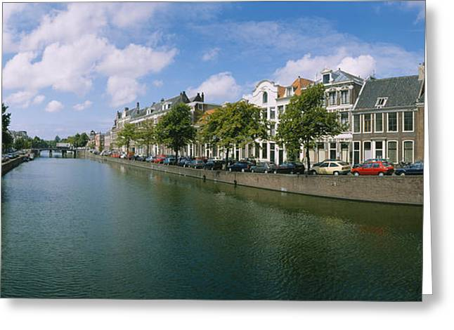 Reflections Of Sky In Water Greeting Cards - Buildings Along A Canal, Haarlem Greeting Card by Panoramic Images