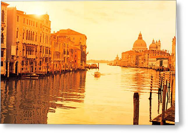 Wooden Building Greeting Cards - Buildings Along A Canal, View Greeting Card by Panoramic Images