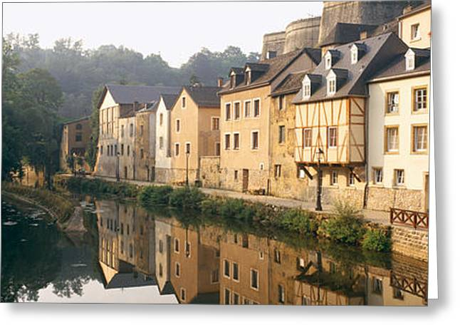 Luxembourg Greeting Cards - Buildings Along A River, Alzette River Greeting Card by Panoramic Images