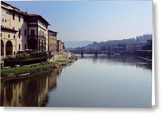 Uffizi Greeting Cards - Buildings Along A River, Uffizi Museum Greeting Card by Panoramic Images