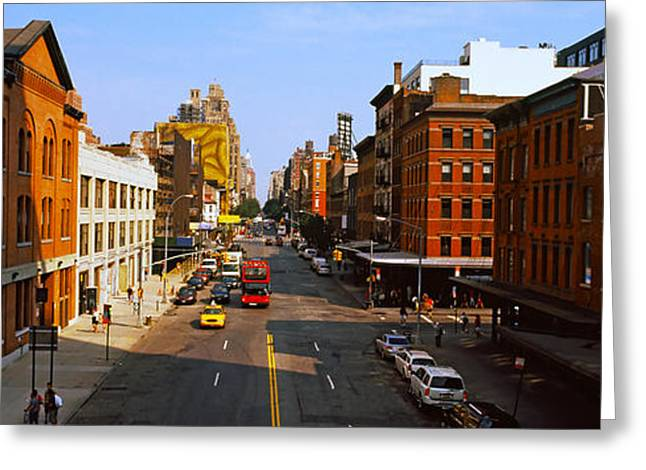 High Line Greeting Cards - Buildings Along A Road In A City, View Greeting Card by Panoramic Images