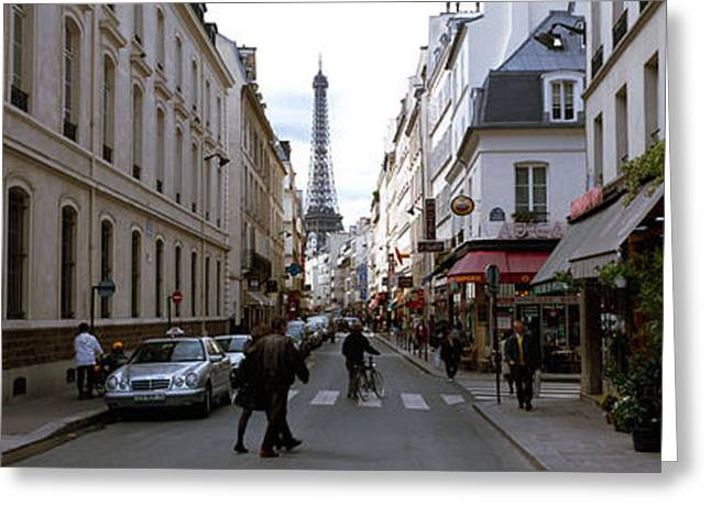 Rue Saint Dominique Greeting Cards - Buildings Along A Street With A Tower Greeting Card by Panoramic Images