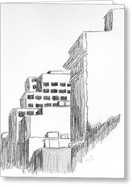 Ste Catherine Greeting Cards - Buildings Along Ste. Catherine Greeting Card by Duane Gordon