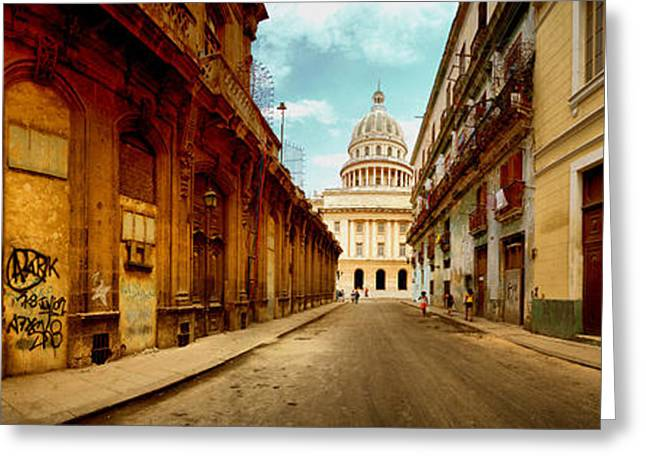 Art Nouveau Photographs Greeting Cards - Buildings Along Street, El Capitolio Greeting Card by Panoramic Images