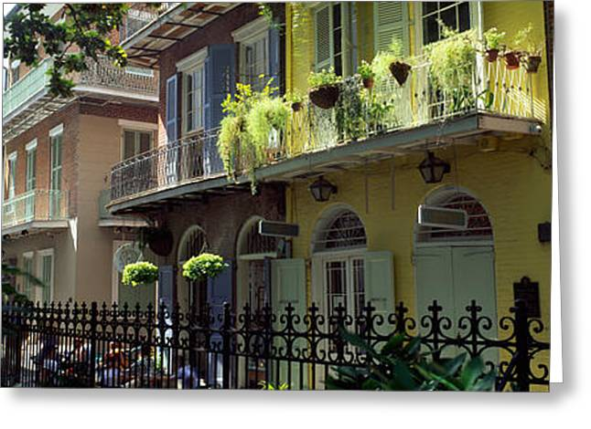 French Quarter Photographs Greeting Cards - Buildings Along The Alley, Pirates Greeting Card by Panoramic Images