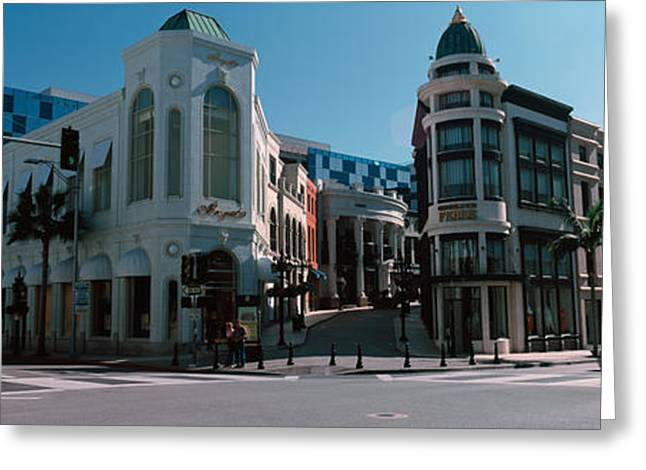 Buildings Along The Road, Rodeo Drive Greeting Card by Panoramic Images