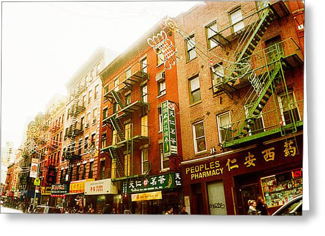 New York City Fire Escapes Greeting Cards - Buildings Along The Street, Chinatown Greeting Card by Panoramic Images