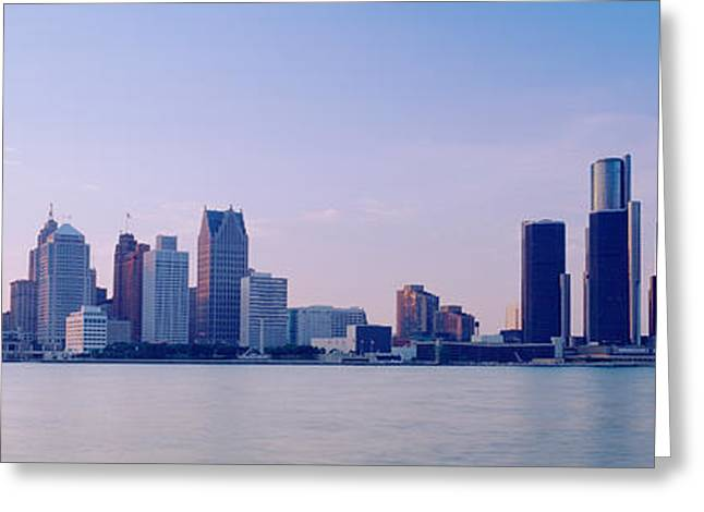 Detroit Photography Greeting Cards - Buildings Along Waterfront, Detroit Greeting Card by Panoramic Images