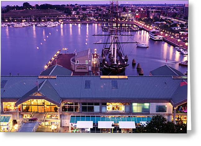 Inner Reflections Greeting Cards - Buildings At A Harbor, Inner Harbor Greeting Card by Panoramic Images