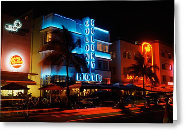Ocean Art Photography Greeting Cards - Buildings At The Roadside, Ocean Drive Greeting Card by Panoramic Images