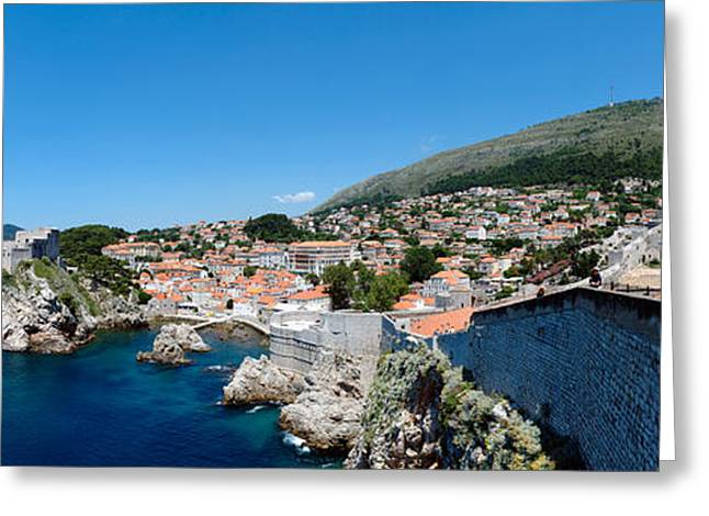 Tile Roof Greeting Cards - Buildings At The Waterfront, Adriatic Greeting Card by Panoramic Images