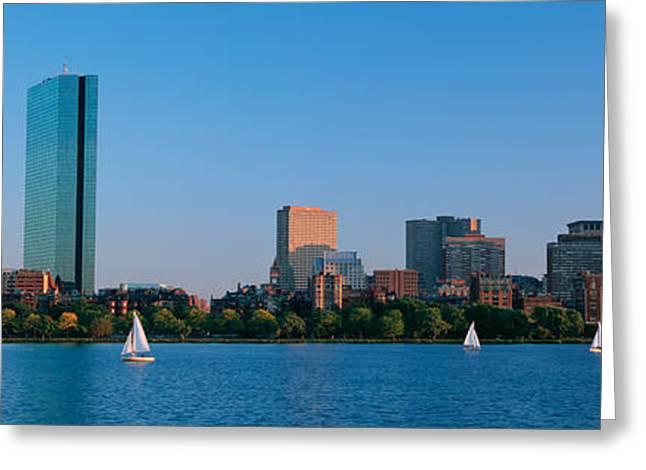 Sailboat Images Greeting Cards - Buildings At The Waterfront, Back Bay Greeting Card by Panoramic Images