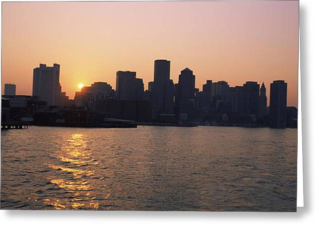 Boston Harbor Greeting Cards - Buildings At The Waterfront, Boston Greeting Card by Panoramic Images