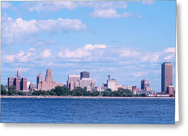 Niagara River Greeting Cards - Buildings At The Waterfront, Buffalo Greeting Card by Panoramic Images